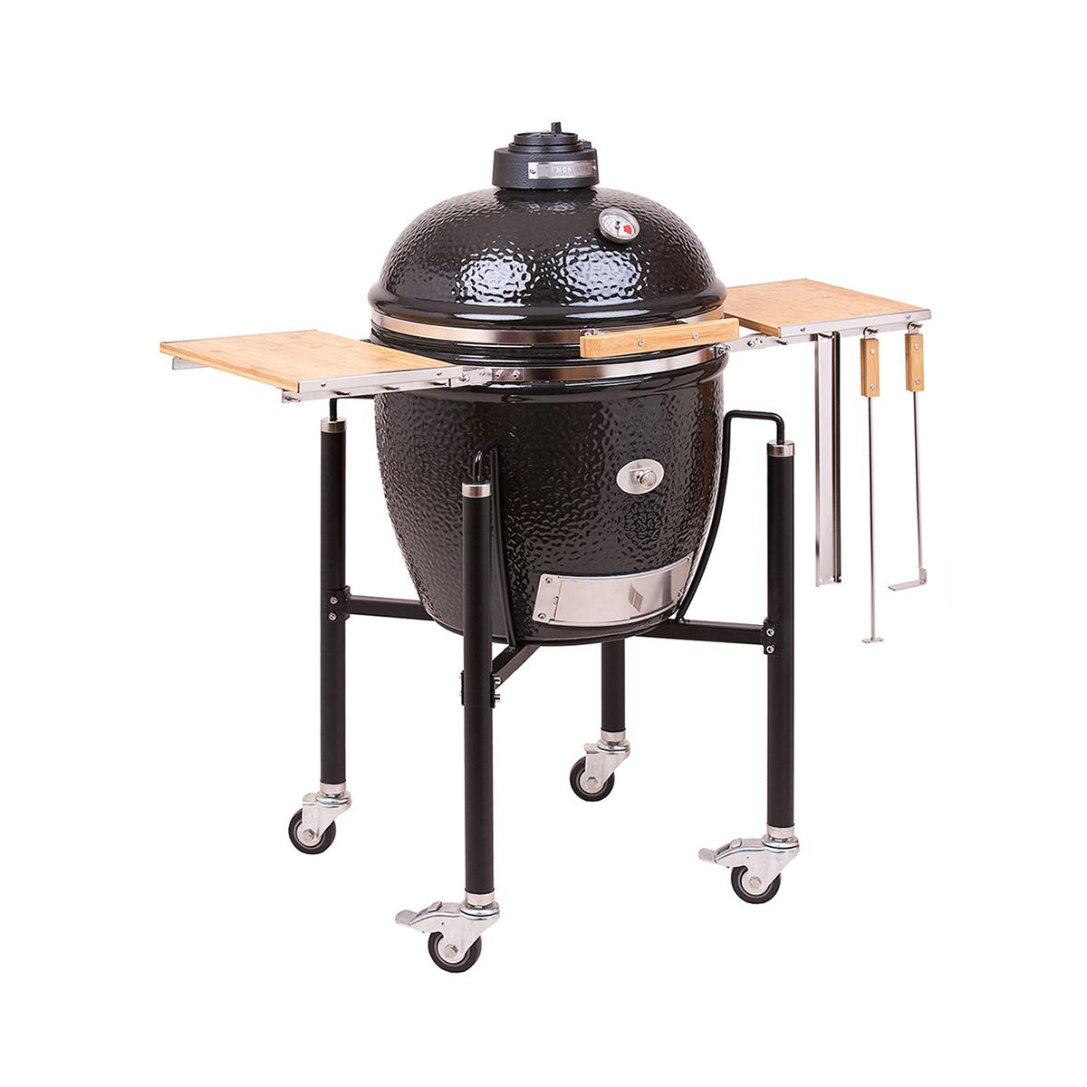 monolith classic ceramic grill including steel cart side shelves. Black Bedroom Furniture Sets. Home Design Ideas